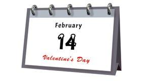 Bordlägga kalendern som visar datumet 14th Februari, valentindagen Royaltyfria Bilder
