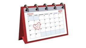 Bordlägga kalendern som visar datumet 14th Februari, valentindagen Royaltyfria Foton