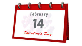 Bordlägga kalendern som visar datumet 14th Februari, valentindagen Arkivbild