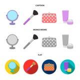 Bordlägga spegeln, den kosmetiska påsen, framsidaborsten, kroppkräm Fastställda samlingssymboler för makeup i tecknade filmen, lä royaltyfri illustrationer