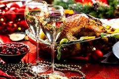 Bordlägger den themed matställen för jul arkivfoton
