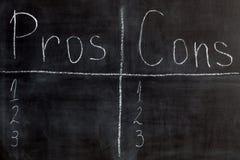 Bordlijst van pros - en - cons. Royalty-vrije Stock Fotografie