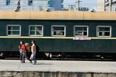 A bordo al treno Immagine Stock