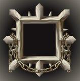 Bordo appuntito arrugginito del blocco per grafici del metallo con la catena