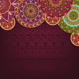Bordo background with ethnic mandalas Royalty Free Stock Photos