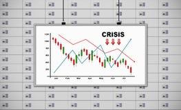 Bordo bianco con il grafico di crisi del disegno Immagini Stock Libere da Diritti