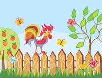 Bordo con il gallo, gli alberi ed i fiori Fotografia Stock Libera da Diritti