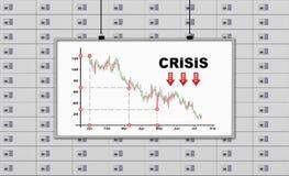 Bordo con il grafico di crisi del disegno Fotografia Stock Libera da Diritti