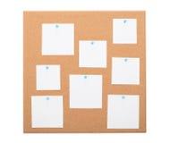 Bordo d'annata del sughero con carta per appunti Fotografia Stock
