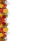 Bordo dei fogli e dei fiori di caduta Immagini Stock