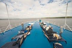 A bordo del barco de cruceros del río Fotografía de archivo