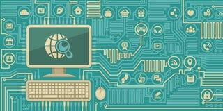 Bordo del computer con un personal computer e le icone di media del sociale Fotografie Stock