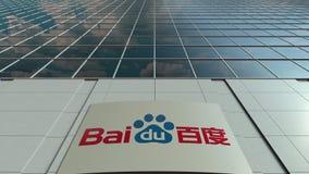 Bordo del contrassegno con il logo di Baidu Facciata moderna dell'edificio per uffici Rappresentazione editoriale 3D Fotografia Stock