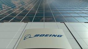 Bordo del contrassegno con il logo di Boeing Company Facciata moderna dell'edificio per uffici Rappresentazione editoriale 3D Fotografie Stock Libere da Diritti