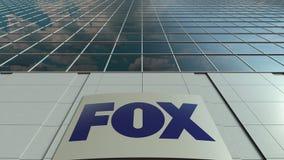 Bordo del contrassegno con il logo di Fox Broadcasting Company Facciata moderna dell'edificio per uffici Rappresentazione editori Fotografia Stock Libera da Diritti