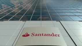 Bordo del contrassegno con il logo di Santander Serfin Facciata moderna dell'edificio per uffici Rappresentazione editoriale 3D Fotografia Stock Libera da Diritti