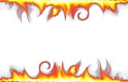 Bordo del fuoco isolato su bianco Fotografie Stock