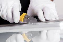 Bordo del PVC di Foamex di taglio Fotografie Stock