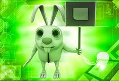 bordo del segno della tenuta del coniglio 3d con l'illustrazione della nota del bastone Fotografia Stock