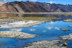 Bordo del sud delle alte montagne del lago Pangong: costa bassa, piccoli isolotti di terra, acqua blu tenera, nel fondo del Immagini Stock Libere da Diritti
