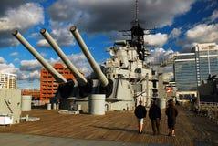 A bordo del USS Wisconsin, Norfolf, Virginia Imagen de archivo libre de regalías