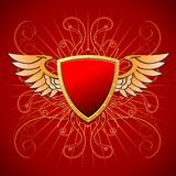 Bordo dell'oro su un fondo rosso Immagini Stock Libere da Diritti
