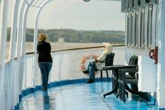 A bordo della nave da crociera del fiume Fotografie Stock