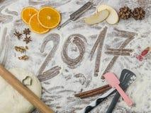 Bordo della pasticceria delle nonne con sottotitolo 2017 Fotografia Stock