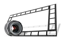 Bordo della striscia della pellicola & dell'obiettivo su bianco fotografie stock