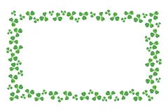 Bordo della struttura di giorno della st Patricks delle acetoselle sopra bianco immagini stock libere da diritti