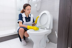 Bordo della toilette di pulizia del lavoratore domestico Fotografie Stock Libere da Diritti