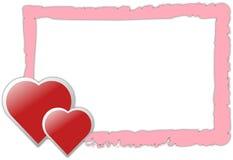 Bordo di colore rosa di giorno del biglietto di S. Valentino con i cuori Fotografie Stock Libere da Diritti