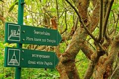 Bordo di direzione nel parco storico di Phra Nakhon Khiri, Phetchaburi, Tailandia fotografie stock