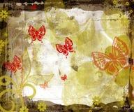 Bordo di Grunge con le farfalle Fotografie Stock