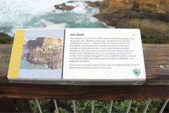 Bordo di informazioni del sito notevole delle caverne Fotografie Stock
