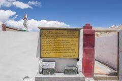 Bordo di informazioni di Gurudongmar Fotografia Stock Libera da Diritti
