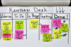 Bordo di Kanban con gli autoadesivi di colore e fare lista sul bordo bianco dell'ufficio Fotografia Stock Libera da Diritti