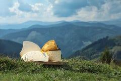 Bordo di legno con differenti generi di formaggio delizioso immagini stock libere da diritti