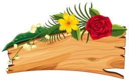 Bordo di legno con i fiori e le foglie sulla cima illustrazione vettoriale