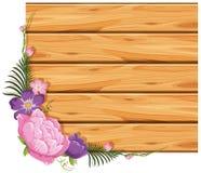 Bordo di legno con i fiori rosa e porpora royalty illustrazione gratis