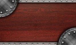 bordo di legno con la decorazione del metallo immagine stock