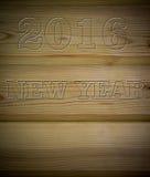 Bordo di legno con salotto 2016 sotto l'albero, parte posteriore di struttura Fotografia Stock Libera da Diritti