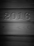 Bordo di legno con salotto 2016 sotto l'albero, parte posteriore di struttura Immagini Stock Libere da Diritti