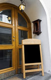 Bordo di legno per il menu del ristorante immagini stock libere da diritti