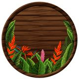 Bordo di legno rotondo con la struttura dei fiori illustrazione vettoriale