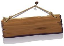 Bordo di legno sulla corda Fotografia Stock Libera da Diritti