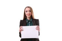 Bordo di manifestazione della donna di affari, insegna con lo spazio della copia pointin del dito Immagini Stock
