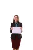 Bordo di manifestazione della donna di affari, insegna con lo spazio della copia pointin del dito Immagine Stock Libera da Diritti