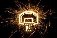 Bordo di pallacanestro in scintille Fotografia Stock Libera da Diritti