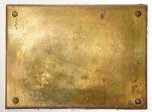 Bordo di piastra metallica d'ottone giallo Fotografia Stock